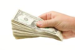 Het overhandigen van Geld Royalty-vrije Stock Afbeelding