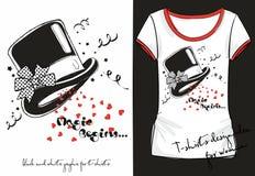 Het overhemd van de vector trandy schetsvrouw met de zwart-witte die hoed van de druktovenaar met een stipboog wordt verfraaid He stock illustratie