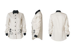 Het overhemd van witte vrouwen in drie hoeken royalty-vrije stock afbeeldingen