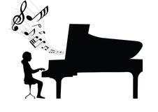 Het overleg van de pianist Stock Afbeeldingen