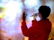 Het Overleg van de zanger stock afbeeldingen