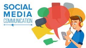 Het Overseinenvector van de tienerjongen Communiceer op Internet Het gebruiken van Smartphone Kleurrijke praatjebellen Sociale Me royalty-vrije illustratie
