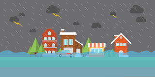 Het overstromende water van de stadsvloed in straat de bouwpakhuis Royalty-vrije Stock Fotografie