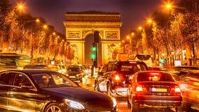 Het Overvolle Verkeer in Parijs royalty-vrije stock afbeeldingen