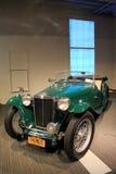 Het overweldigende voorbeeld van exotische auto's op vertoning, dit één een Automobiel Museum van MG TC Saratoga van 1947, Sarato Royalty-vrije Stock Foto's