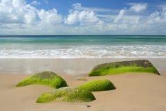 Het overzees en het zand van de hemel Stock Afbeelding