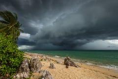 Het overzees, het rotsachtige strand en de tropische installaties in Koh Samui Royalty-vrije Stock Fotografie