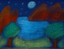 Het Overzees tussen Heuvels - het Zachte Pastelkleur Schilderen royalty-vrije illustratie