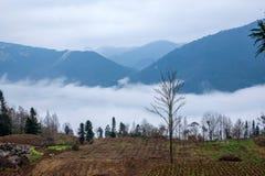 Het overzees van de de Riviervallei van Hubeibadong Dazhiping van wolken †‹â€ ‹ Stock Fotografie