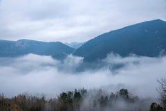 Het overzees van de de Riviervallei van Hubeibadong Dazhiping van wolken †‹â€ ‹ Stock Afbeelding