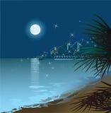 Het overzees van de nacht Royalty-vrije Stock Foto