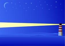 Het overzees van de nacht met vuurtoren stock illustratie