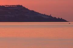 Het overzees van de zonsondergang Stock Fotografie