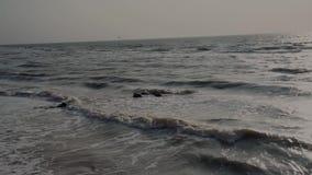 Het overzees van grijze, zeemeeuwenvlieg in de zomer, krachtengolven, wordt schuim gevormd op de kust, en branding Zonneweg, blau stock video