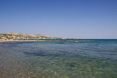 Het overzees van het de zomerstrand van Rhodosgriekenland Royalty-vrije Stock Foto