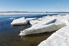 Het overzeese ijs wordt vernietigd in de lente Stock Foto's