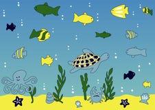 Het overzeese leven van de oceaan en vector illustratie