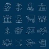Het overzicht van bedrijfseconomiepictogrammen Stock Afbeelding