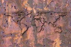 Het overzicht van de aarde op een roest Royalty-vrije Stock Afbeeldingen