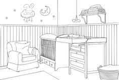 Het Overzicht van de babyslaapkamer en Schets Vectorillustratie Stock Afbeelding