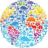 Het overzicht van de bol dat van vogels, dieren en bloemen wordt gemaakt vector illustratie