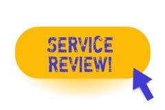 Het Overzicht van de handschrifttekstservice Het concept die een optie voor klanten betekenen om een bedrijf s te schatten is de  vector illustratie