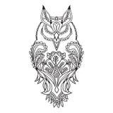Het overzicht van de uil is zwart, met patronen voor tekening, Stock Afbeeldingen