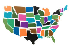 Het overzicht van het de kaartraadsel van de V.S. royalty-vrije stock fotografie