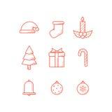Het overzicht van Kerstmispictogrammen Stock Foto