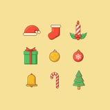 Het overzicht van Kerstmispictogrammen Royalty-vrije Stock Foto