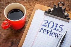 het overzicht van 2015 op bord op klembord Royalty-vrije Stock Afbeeldingen