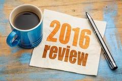 het overzicht van 2016 op servet Stock Afbeelding