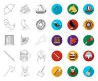 Het overzicht van Vikingen en van attributen, vlakke pictogrammen in vastgestelde inzameling voor ontwerp Oud Norse de voorraadwe stock illustratie