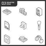 Het overzichts isometrische pictogrammen van DJ Stock Foto