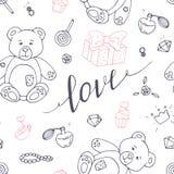 Het overzichts naadloos patroon van de valentijnskaartendag met LIEFDEhand getrokken teken stock illustratie