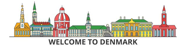 Het overzichtshorizon van Denemarken, Deense vlakke dunne lijnpictogrammen, oriëntatiepunten, illustraties Cityscape van Denemark stock illustratie