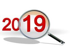 het overzichtsnadruk van 2019 op de aantallen van de detailstekst len - het 3d teruggeven stock foto's