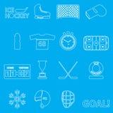 Het overzichtspictogrammen van de ijshockeysport geplaatst eps10 Stock Fotografie