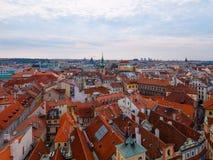 Het overzien van de daken van Praag Royalty-vrije Stock Foto's