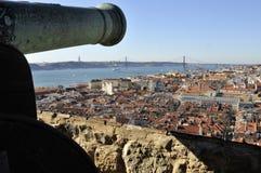 Het overzien van Lissabon van Kasteel van São Jorge Royalty-vrije Stock Afbeeldingen