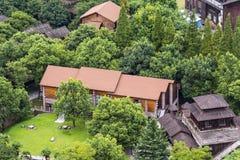 Het overzien van Rode lantaarn Landelijke huizen Royalty-vrije Stock Afbeelding