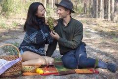 Het paar bij een picknick drinkt wijn en eet druiven royalty-vrije stock foto's