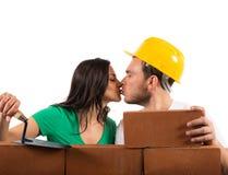 Het paar bouwt een huis Royalty-vrije Stock Foto