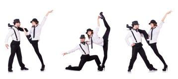 Het paar dansers het dansen moderne dansen Stock Foto's