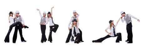 Het paar dansers het dansen moderne dansen Stock Afbeelding