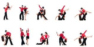 Het paar dansers op het wit worden geïsoleerd dat Stock Foto