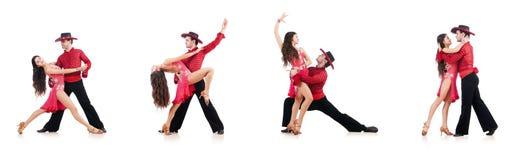 Het paar dansers op het wit worden geïsoleerd dat Royalty-vrije Stock Foto's