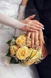 Het paar dat van het huwelijk ringen toont Royalty-vrije Stock Afbeeldingen