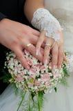 Het paar dat van het huwelijk ringen toont Stock Afbeelding