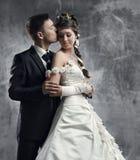 Het paar, de bruid en de bruidegom van het huwelijk Stock Fotografie